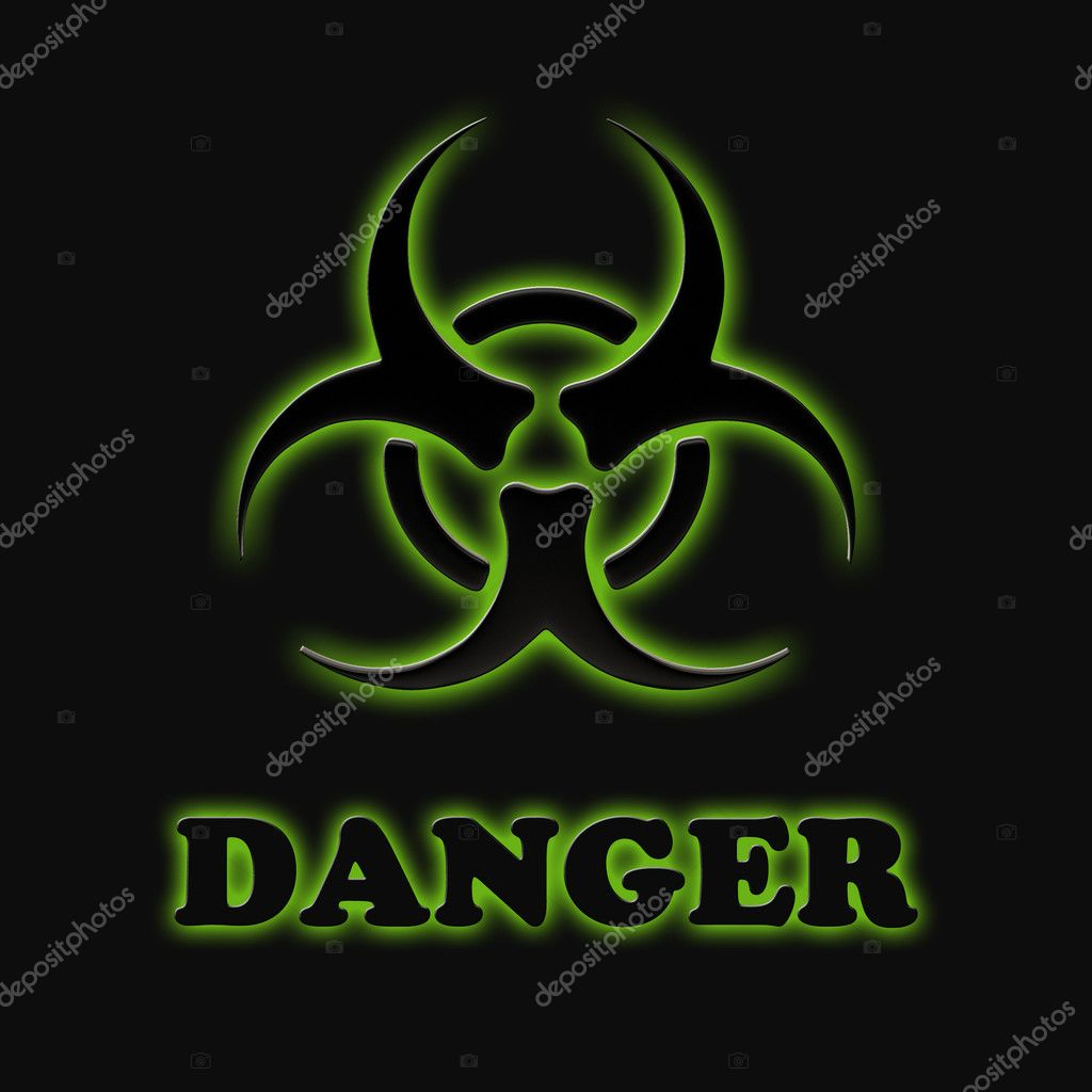 The sign of biological hazards on a black background. — Stock Photo #9180096