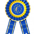 Ribbon award with euro sign — Stock Photo