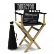 Chair director, movie clapper and megaphone — Stock Photo
