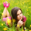 Woman on flower field — Stock Photo #10133370
