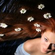 Hair white flowers - Stock Photo