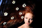 Haar witte bloemen — Stockfoto
