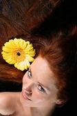 Hair yellow flowers — Stock Photo