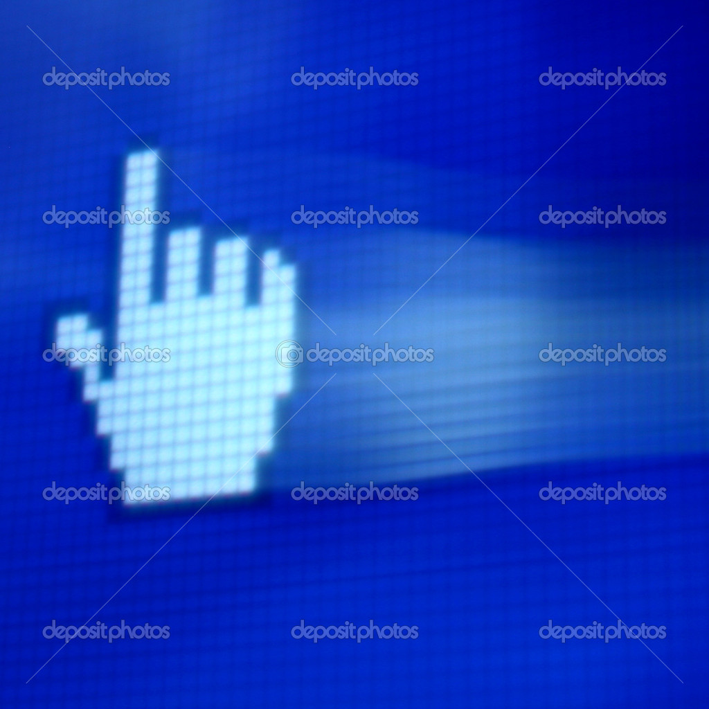 Finger corsor on blue pixel screen — Stock Photo #10406206