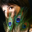 Peacock girl — Stock Photo