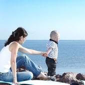 Piknik w pobliżu morza — Zdjęcie stockowe