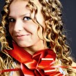 Gril with red Bow — Stock Photo