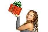Girl present — Stock Photo
