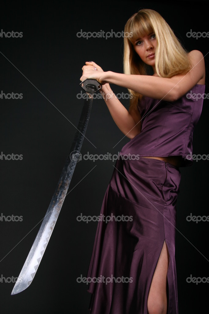 Ninja girl try to stop aggression conflict enemy — Stock Photo #10599936
