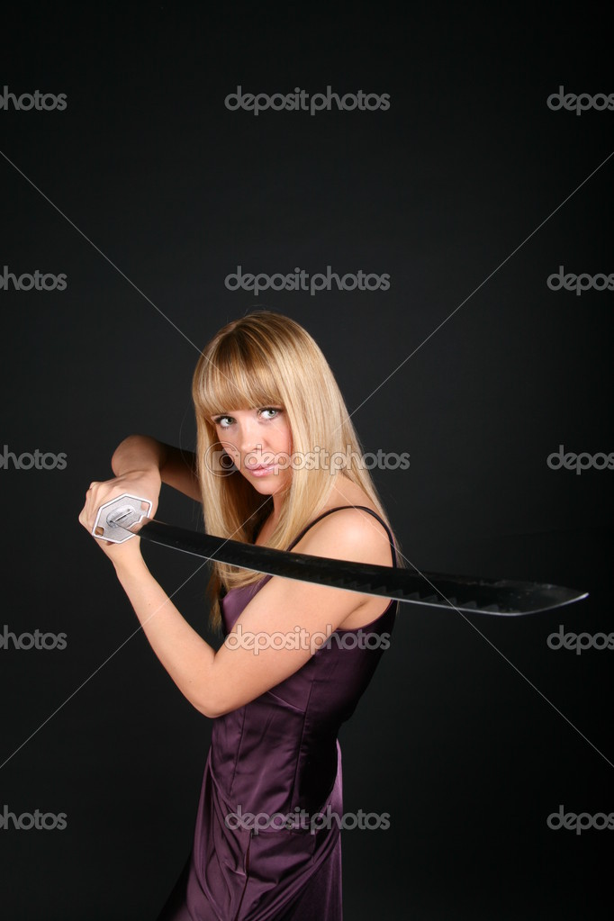 Ninja girl try to stop aggression conflict enemy  Stock Photo #10599949