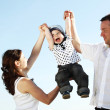 Happy family in sky — Stock Photo #10635222