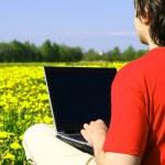 Laptop nature work — Stock Photo #10644305