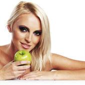 Dziewczyna z jabłkiem — Zdjęcie stockowe