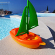 Toy ship pool — Stock Photo