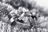 Silver christmas card — Stockfoto