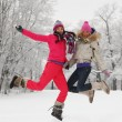 Winter girl jump — Stock Photo #8079555