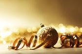 χρυσή χριστουγεννιάτικη κάρτα — Φωτογραφία Αρχείου