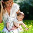 Mother and daughter on the green grass — Stock Photo #8515661
