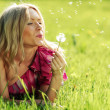 Girl blowing on dandelion — Stock Photo #8515776
