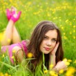 Woman on flower field — Stock Photo