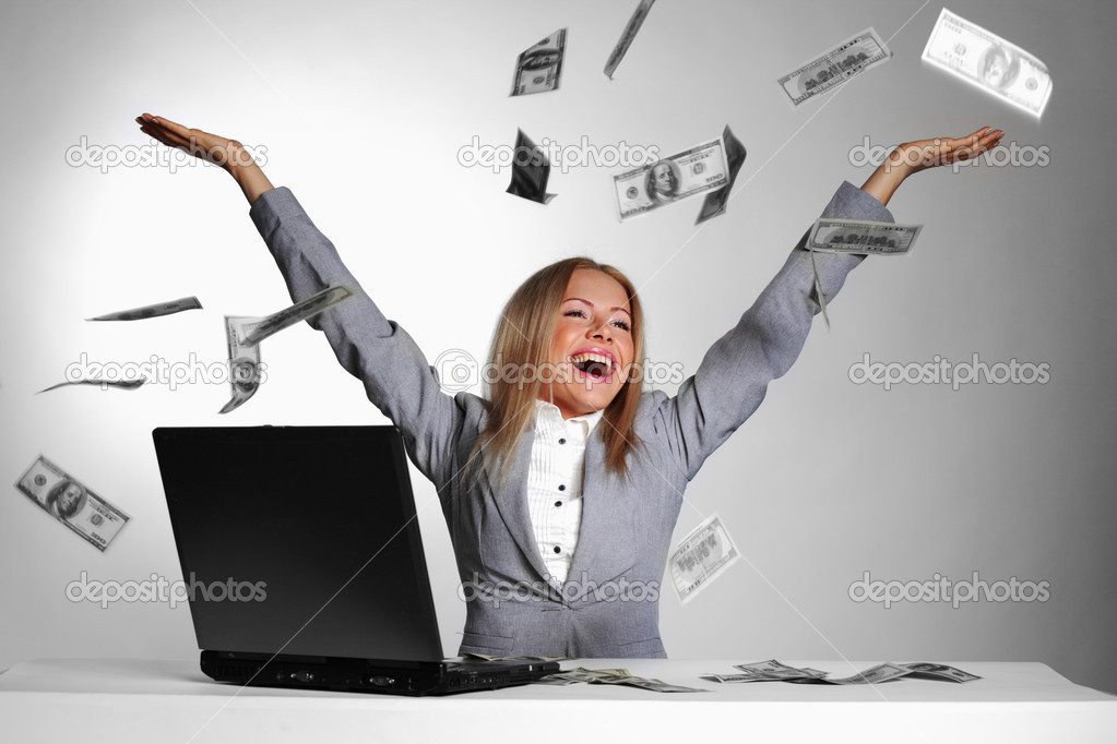 Business woman drop dollars in the air — Stock Photo #8528036