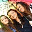 Smiling girlfriends under umbrella — Stock Photo #8547837