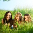 Girlfriends under tree — Foto de Stock