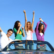 Joy in cabriolet — Stock Photo