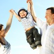 Royalty-Free Stock Photo: Happy family in sky
