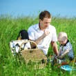 Happy family picnic — Foto de Stock