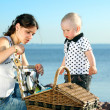 Happy family picnic - Stock Photo