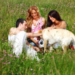 Friends and dog — Stock Photo #8566225