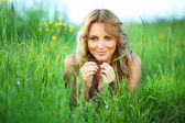 Woman on the grass — Stock Photo