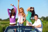 Friends in car — Stock Photo