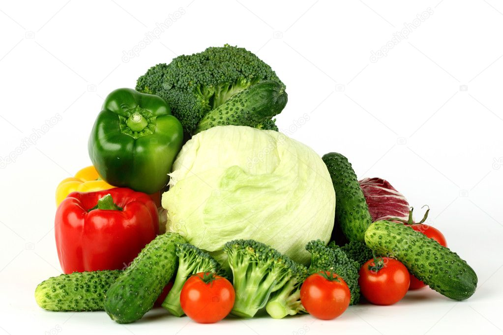 Vegetable, freshness, vegetarian,big vegetarian pile isolated on white  Stock Photo #8565366