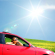 Woman in red car — Stock Photo #8691902