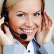 Woman call with headset — Stock Photo