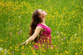 Woman on flower field — Foto Stock