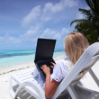 Tropical business woman with laptop — Stock Photo #8707860