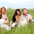 Friends and dog — Stock Photo #8941342