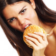 Woman eat burger — Stock Photo #8941464