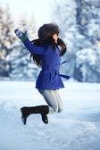 Winter women jump — Stock Photo