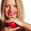 Woman and red apple — Stock Photo #8974717