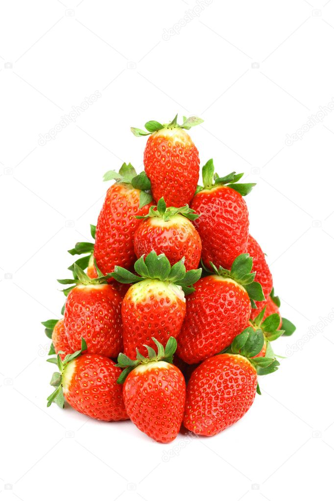 Strawberry pile isolated on white background — Stock Photo #8979163