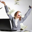 Dollars in the air — Stock Photo