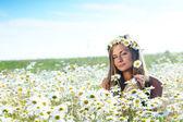 Dívka na poli květy sedmikráska — Stock fotografie