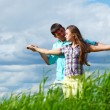 Stock Photo: Lover hug in sky