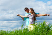 Lover hug in the sky — Stock Photo