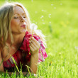 Girl blowing on dandelion — Stock Photo #9148070