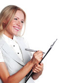 ビジネスの女性のノートブックに書き込む — ストック写真